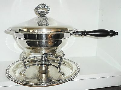 6pc Vintage Oneida Silver Plate Footed Serving / Chafing Dish w Tray & Sterno