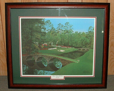 "Framed - 12th at Augusta golf print   MASTERS = 20"" x 23"" overall size Giclee"