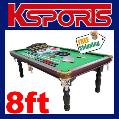 Pub Size Pool Table 8Ft Traditional Snooker Billiard Table Green - Brand New