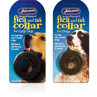 Johnsons Dog Waterproof Flea & Tick Guard 5 Month Protector Collar Black 2 Sizes
