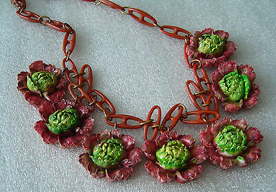 Vintage carved hand painted celluloid flowers roses necklace