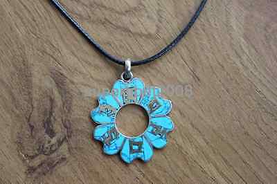 Tibet Jewelry Flower Brass Buddhism 6 Words Mantra Pendant Necklace (14000541)