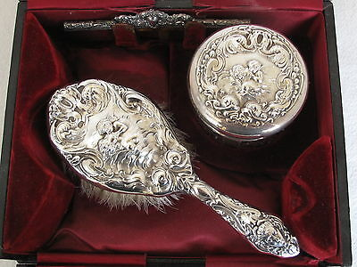 """ANTIQUE STERLING SILVER  """" Cupid and Psyche """" 1903  Vanity Set in original box"""