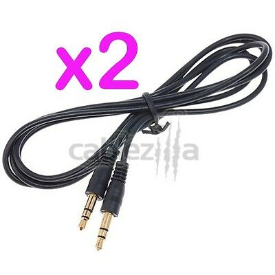 2x 3ft 3.5mm Gold Male to Male Cable Cord Audio Stereo iPod iPhone PC MP3 Aux