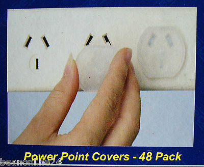 48 Pack Power Point Safety Plugs / Covers - prevents kids inserting objects
