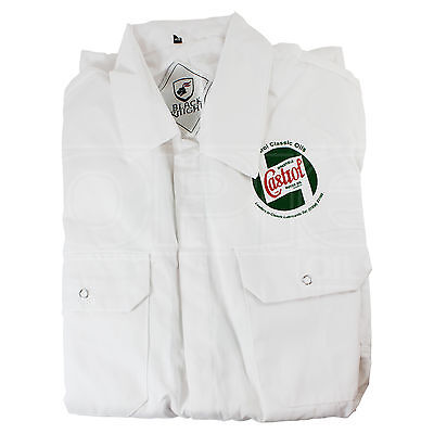 "Team Castrol Classic Mechanics White Overalls - 46"" Chest"
