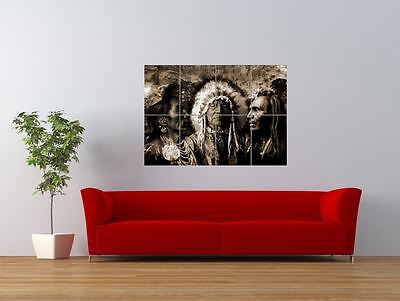 Native American Indian Chief Head Dress  Giant Art Print Panel Poster Nor0614