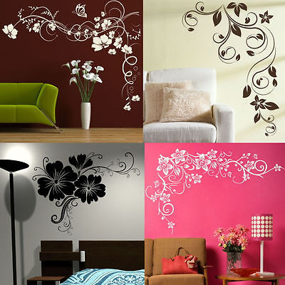 CORNER FLOWER WALL STICKERS! interior home floral transfers, vinyl decal decor