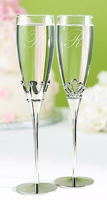 Silver King & Queen Royal Crown Wedding Toasting Glasses Champagne Flutes