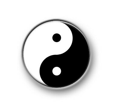 "YIN AND YANG 1"" / 25mm / pin button / badge / novelty / philosophy / opposite"