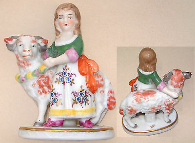 "Sitzendorf Figurine: Girl with Floral Dress and Garland around a Ram: 3¼"" Tall"
