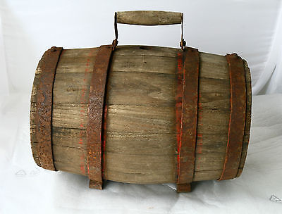 ANTIQUE 19`c PRIMITIVE Hand Made Wooden IRON BANDED CANTEEN FLASK Alcohol KEG