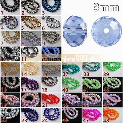 100pcs Glass Crystal Faceted Rondelle Findings Loose Spacer Beads 3mm Wholesale