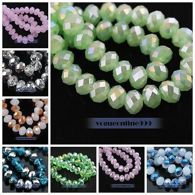 100pcs Glass Crystal Faceted Rondelle Findings Loose Spacer Beads 6mm 45 Colors