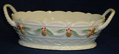 Lenox CHRISTMAS HOLIDAY BASKET or Candy  Bowl w/Holly & Pine Cones