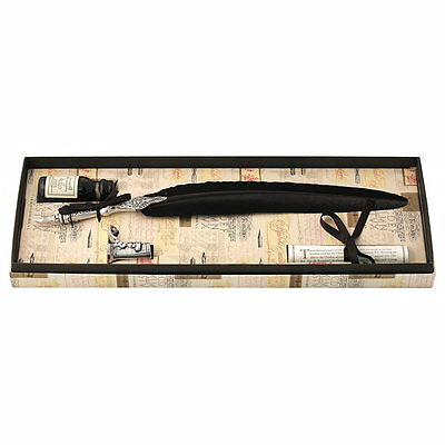 Calligraphy Set, Black Feather Pewter Quill Set, Great Gift (7225BK)