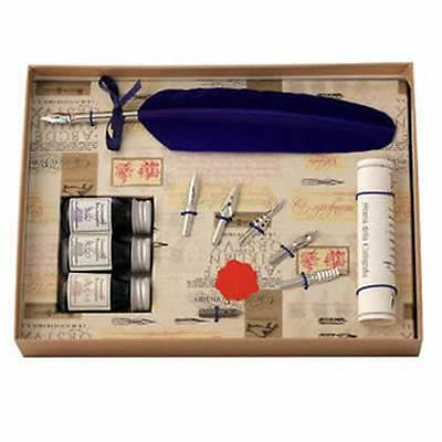 Calligraphy Set, Blue Feather Quill 3 Inks & 6 Nib Set, Great Gift (531BL)