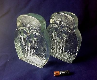 Pair Vintage BLENKO Glass OWL Bookends Mid-Century Modern Excellent!