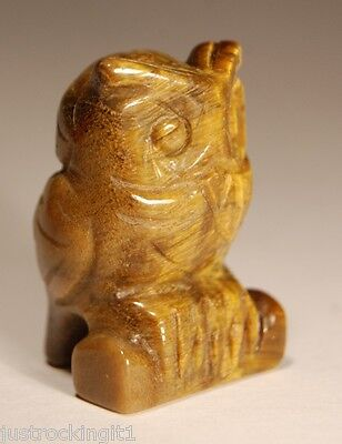 TIGER EYE OWL CARVING 3.8cm 33g Carved Tigers Healing Crystal Chakra Gift