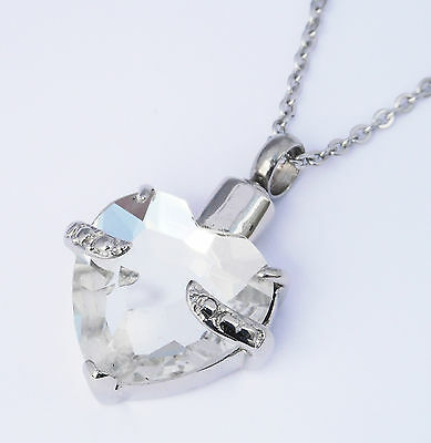 """Cremation Ashes Jewellery Keepsake Necklace Urn """"Clear Embrace"""" ENGRAVABLE*"""