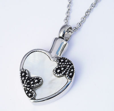 """Cremation Ashes Jewellery Keepsake Necklace Urn """"Floral Heart"""" ENGRAVABLE*"""