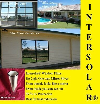 "20"" x5' Silver CHROME MIRROR Window Tint Home 2 ply extra Dark Intersolar® 1%"