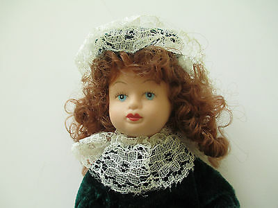 """Pretty Porcelain 7.5"""" Doll Dressed In Green Dress With Matching Hat Free Ship"""