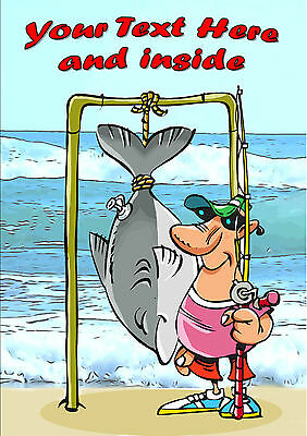 PERSONALISED FISHING ANGLING FUNNY BIRTHDAY FATHERS DAY CARD Illus Insert