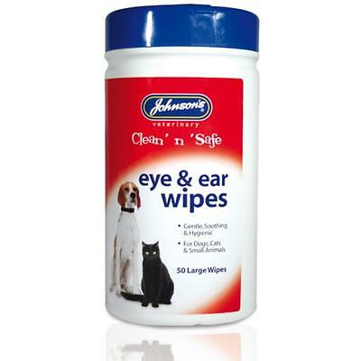 Johnsons EYE AND EAR WIPES Dog Cat Pet Gentle Soothing Hygiene Cloths 50pk