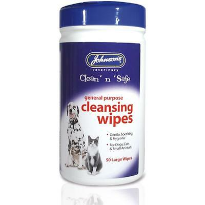 Johnsons Clean n Safe Cleansing Gentle Hygiene Wipes Pet Cat Dog Small Animal