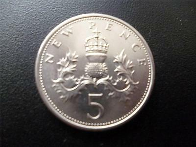 1968 Five New Pence Piece In Uncirculated Condition, First Issue Of 5P Coin.