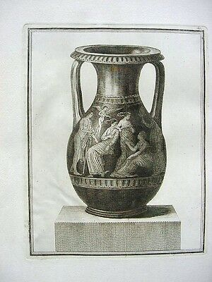 Antique 18th Century French Engraving Ancient Greek Large Urn w.Goddesses # 3