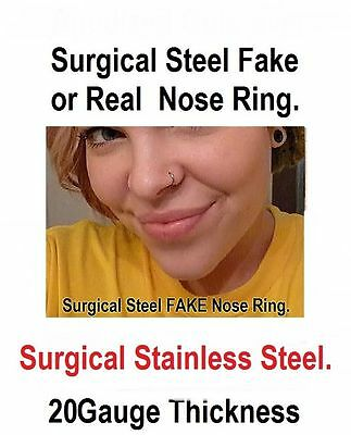STERILIZED Surgical Steel FAKE OR REAL 20g 8mm NOSE RING. NO HOLE NEEDED.