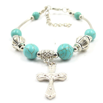 Fashion Jewelry Tibetan Silver Pld Bracelet  Turquoise Bead Adjust Cross Bangle