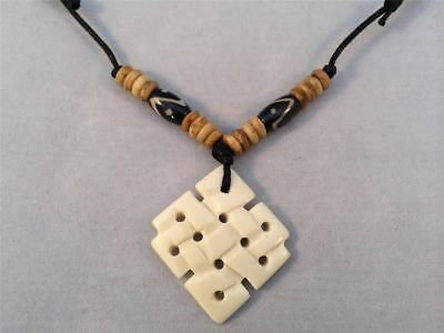 Tibetan Eternal knot Bone Pendant Necklace with Waxed cord