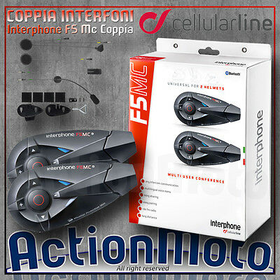 Cellular line - Interphone F5 MC Twin Kit intercom moto - Bluetooth 3.0