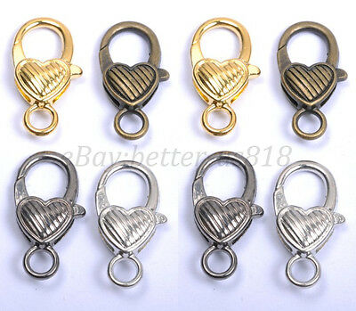Gold Silver Plated Bronze Copper & Twill & Charms Heart Lobster Clasps 25MM