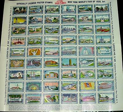 WORLDS FAIR 1939 NEW YORK POSTER STAMPS COMPLETE SHEET of 54