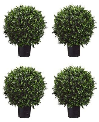 "4 Artificial 24"" Boxwood Topiary Ball In Outdoor Tree Silk Plant Bush Patio Pool"