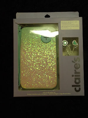 Smartphone tech case and earbud set new 2 pc trendy glitter blackberry iphones