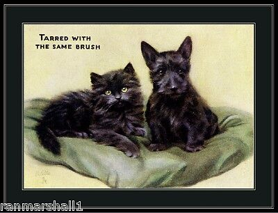 Vintage English Scottish Terrier Puppy Dog Black Kitten Cat Poster Picture Art
