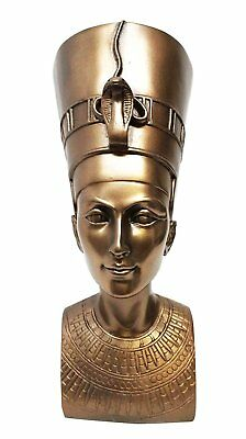 "Adorable Egyptian Queen Nefertiti Bust in Bronze Finish Premium Resin Statue 7""H"