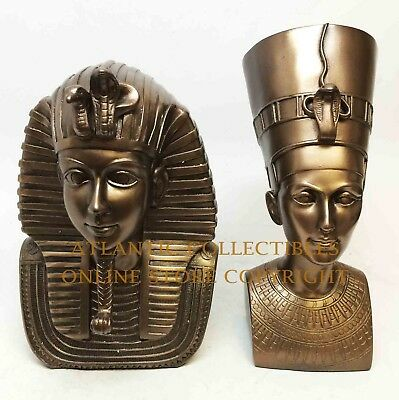 Egyptian Queen Nefertiti and King Tut Pharaoh Bust Set in Bronze Finish Statue