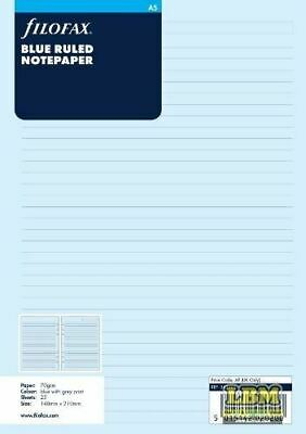 Filofax A5 size Blue Ruled (Lined) Notepaper Refill Insert 343001