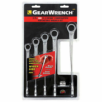 Aircraft Tools  New Gearwrench 5Pc X Beam Ratchet Combination Spanner Set Metric