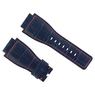New 24Mm Leather Watch Band Strap For Bell & Ross Br-01-03 Watch Blue Red Stitch