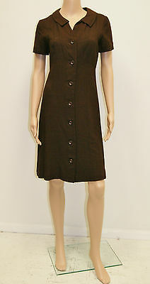 Vintage 60's Mid Century Brown Button Up Mini Dress by Patty Petite -Size 4 to 6