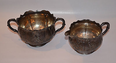 Antique Chinese Export Silver Cream & Sugar WH 90