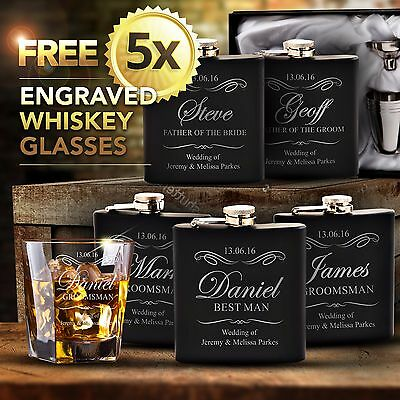5x Engraved Black Hip Flask Gift Set Personalised Wedding Groomsman Bridal Party