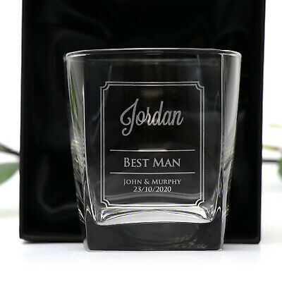Engraved 270ml Scotch Glass W/ Gift Box Whiskey Personalised Wedding Tumbler
